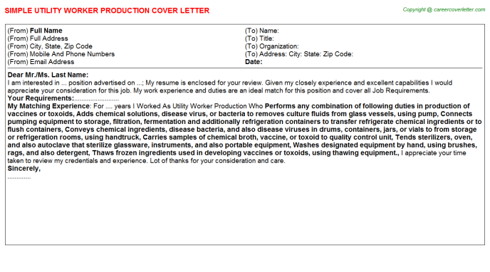 utility worker production cover letter template