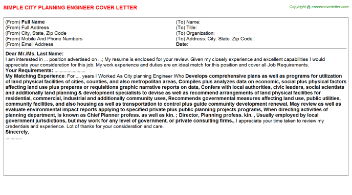 city planning engineer cover letter template