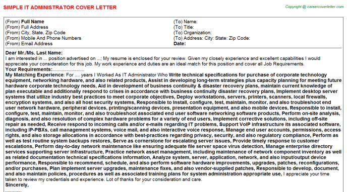 IT Administrator Cover Letter Template