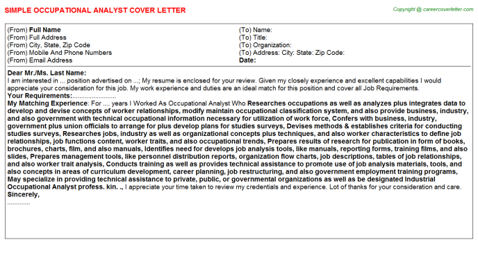 occupational analyst cover letter template