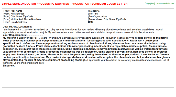 Semiconductor Processing Equipment Production Technician Job Cover Letter Template