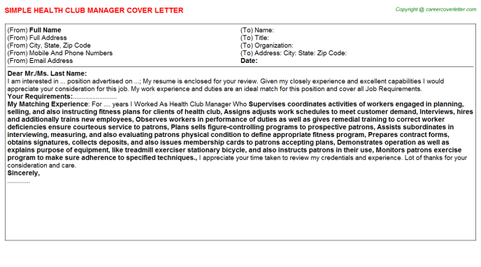 health club manager cover letter template