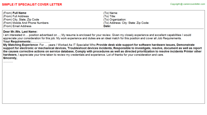 IT Specialist Cover Letter Template