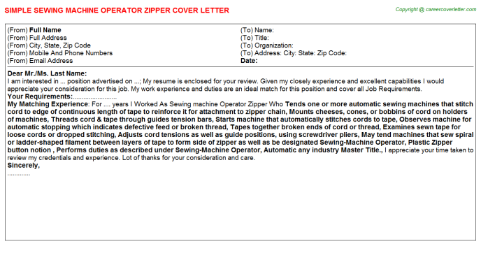 Sewing Machine Operator Zipper Job Cover Letter Template