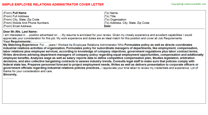 employee relations administrator cover letter template