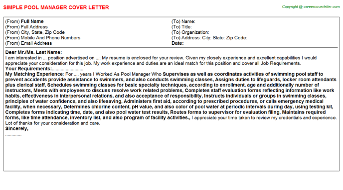 Pool Manager Job Cover Letter