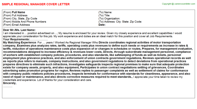 Regional Manager Cover Letter Template