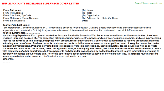 Accounts Receivable Supervisor Cover Letter Template