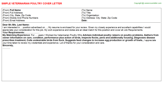 Veterinarian Poultry Cover Letter Template