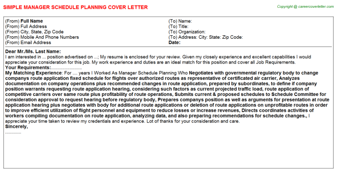 Manager Schedule Planning Cover Letter Template