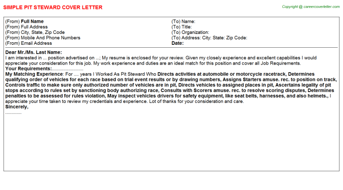 pit steward cover letter template