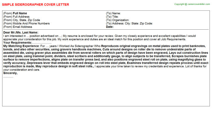 Siderographer Cover Letter Template