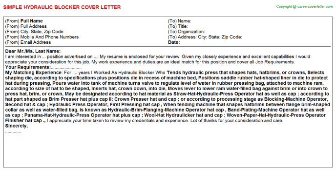 Hydraulic Blocker Cover Letter Template