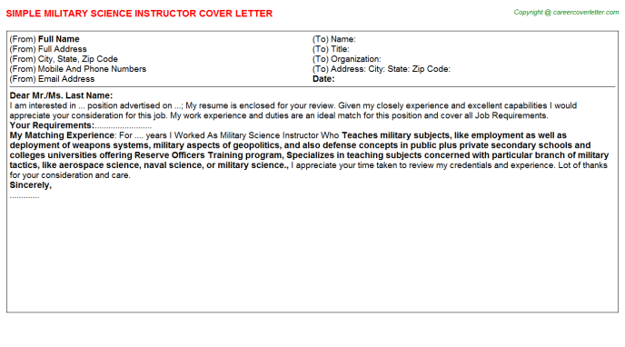 View Elegant Cover Letter Military  That Wow