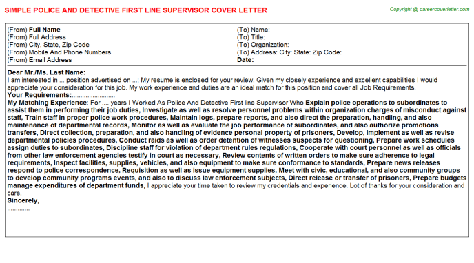 Police And Detective First Line Supervisor Cover Letter