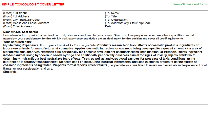 Toxicologist Job Cover Letter Template