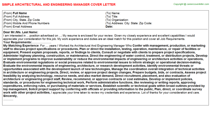 architectural and engineering manager cover letter template
