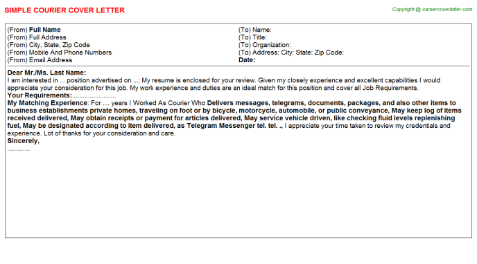 Courier Cover Letter Template