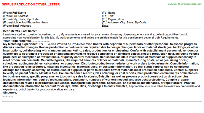 Production Cover Letter Template