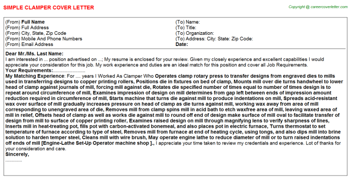 Clamper Cover Letter Template