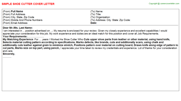 Shoe Cutter Cover Letter Template