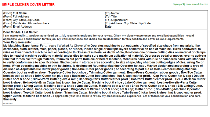 Clicker Job Cover Letter Template