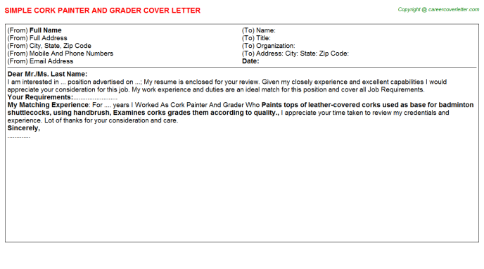 Cork Painter And Grader Job Cover Letter | Cover Letters