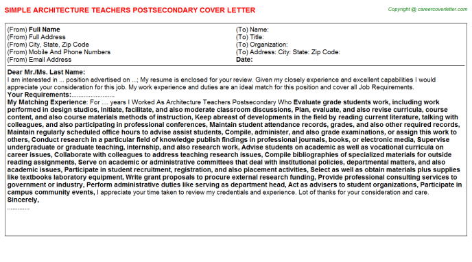 architecture teachers postsecondary cover letter template