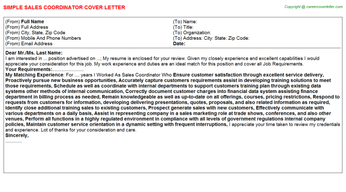 Sales Coordinator Cover Letter Template