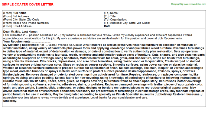 Coater Cover Letter Template