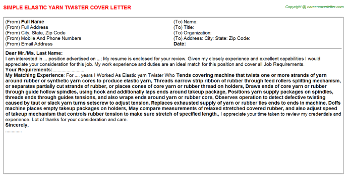 elastic yarn twister cover letter template