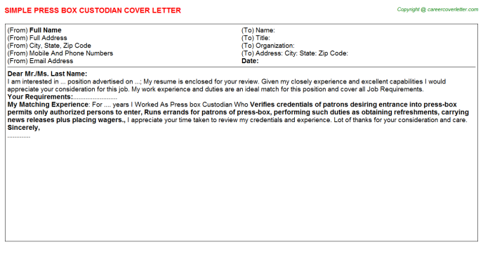Property And Evidence Custodian Job Cover Letters Examples