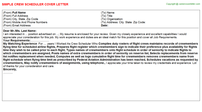 Crew Scheduler Job Cover Letter Job Cover Letters