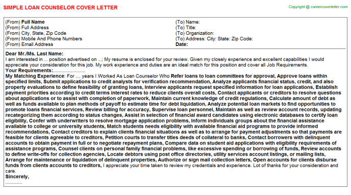 Loan Counselor Job Cover Letter