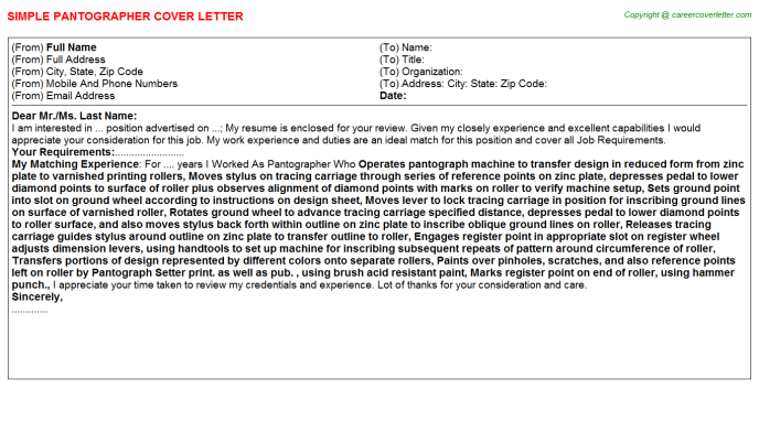 Pantographer Cover Letter Template