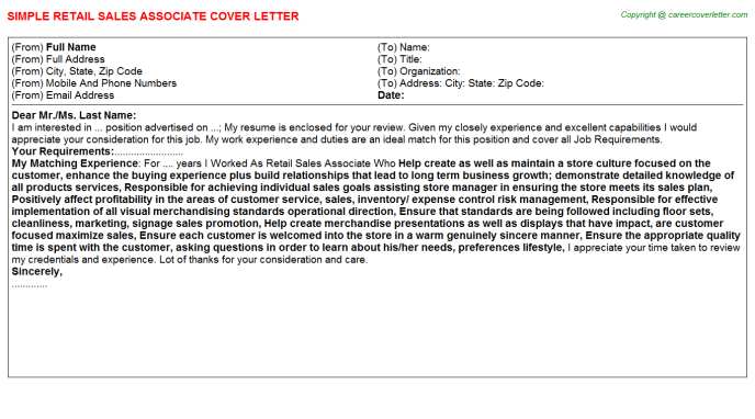 Retail Sales Associate Cover Letter Template