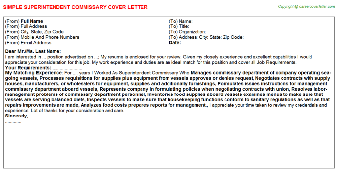 Superintendent Commissary Job Cover Letter Template