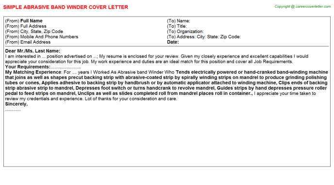 abrasive band winder cover letter template