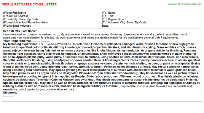 Recoater Cover Letter Template