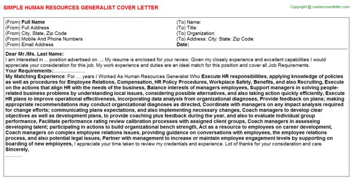 Human Resources Generalist Job Cover Letter Sample