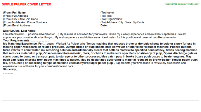 Pulper Cover Letter Template