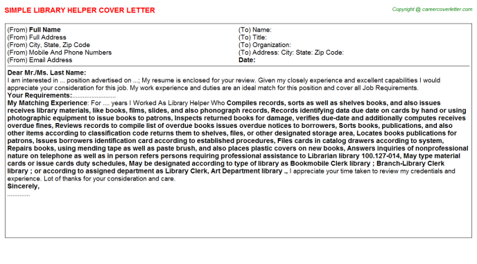 Library Helper Cover Letter Template