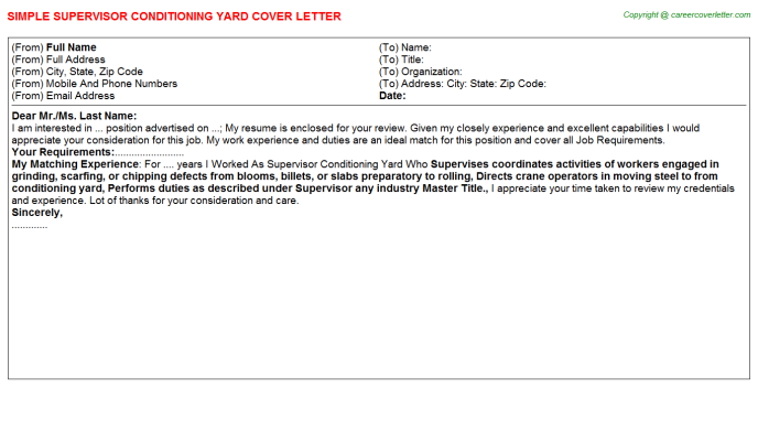 Supervisor Conditioning Yard Cover Letter Template
