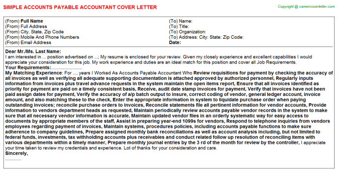 Accounts Payable Accountant Job Cover Letter Template