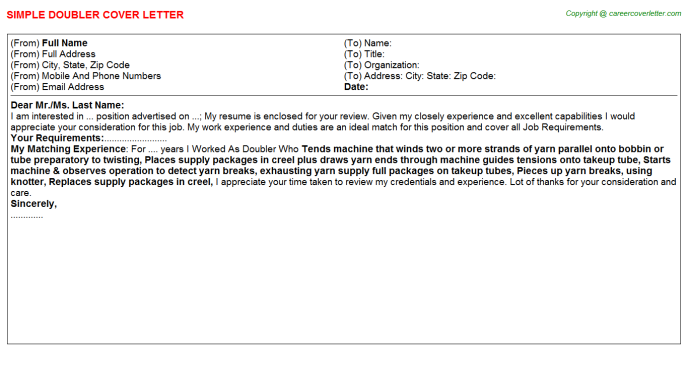 Doubler Job Cover Letter Template