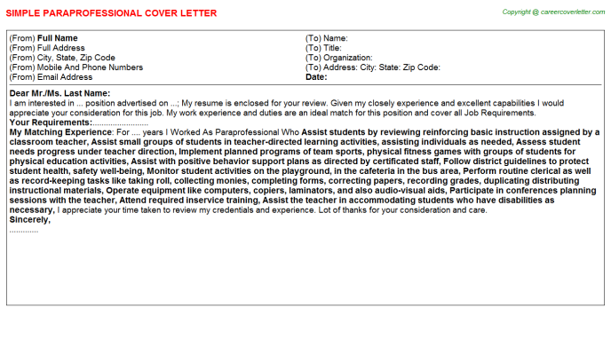 Paraprofessional Cover Letter Template SAMPLE PARAPROFESSIONAL