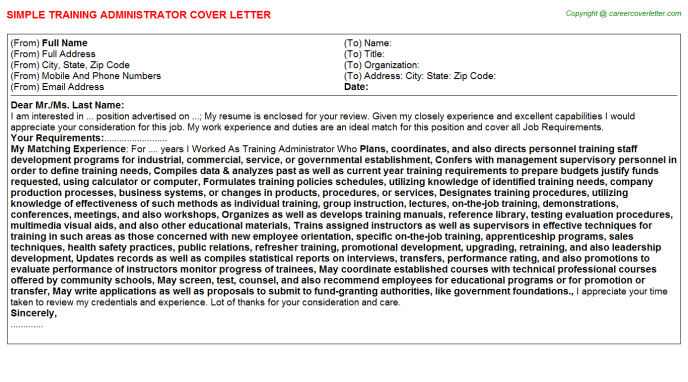 training administrator cover letter template