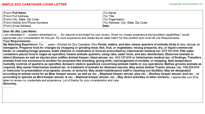 zoo caretaker cover letter template