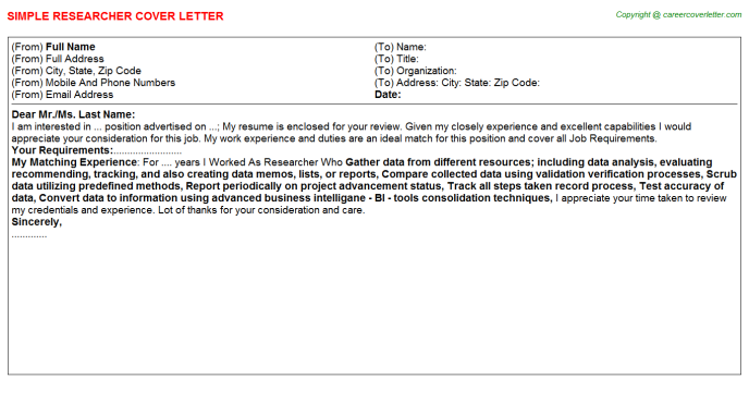 Researcher Job Cover Letter Template