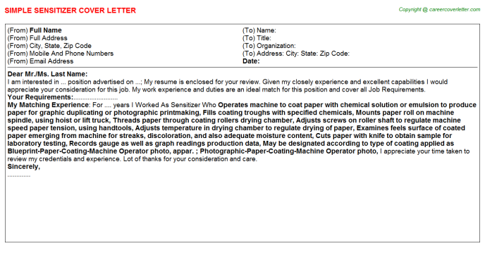 Sensitizer Cover Letter Template